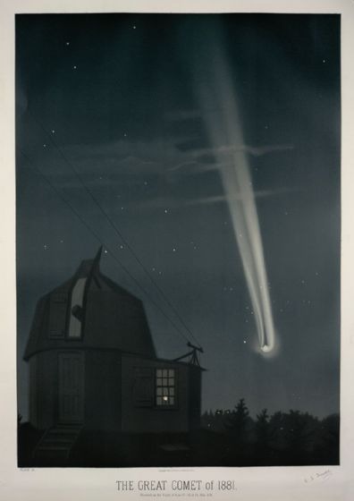 Trouvelot, Etienne Leopold: The Great Comet of 1881. (The Trouvelot Astronomical Drawings, 1882) Space Print/Poster. Sizes: A1/A2/A3/A4 (0098)